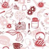 Empfindliches nahtloses Muster mit Bonbons und Tee vektor abbildung