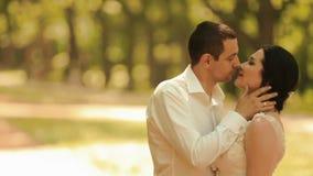 Empfindliches Seitenporträt der attraktiven Jungvermählten, die im sonnigen Park sich amüsieren Bräutigam streicht zart stock video footage