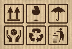Empfindliches Symbol auf Pappe Stockfoto
