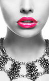 Emphasis. Black & White Woman's Face with Pink Lips Royalty Free Stock Image