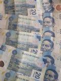 empilé 20 pesos des factures du Mexique Photo stock