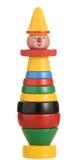 Empilant le jouet de clown du BRIO d'isolement sur le fond blanc Photo libre de droits