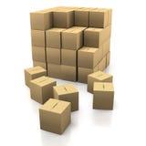 Empilement des boîtes en carton Photo libre de droits