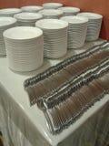 Empilement des fourchettes des plats n Photographie stock libre de droits