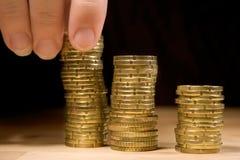 Empilement des pièces de monnaie Images libres de droits