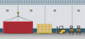Empilhadeira com recipiente ilustração stock
