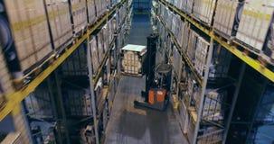 A empilhadeira põe a carga sobre a prateleira no armazém Empilhadeiras do trabalho no armazém filme