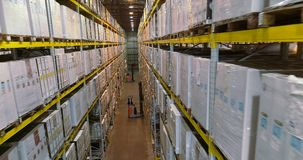 Empilhadeiras no armazém da empresa, armazém brilhante moderno Interior industrial filme