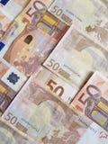 empilhado 50 euro- contas Fotografia de Stock