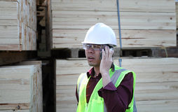 Empilhando a madeira e o trabalhador Imagens de Stock Royalty Free