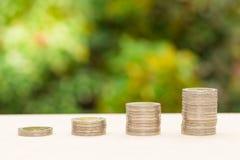 Empilhando a moeda com espaço da cópia Imagem de Stock
