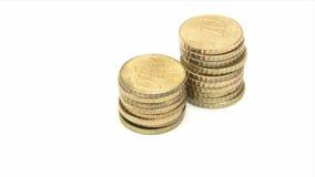 Empilhando moedas do centavo de Euro filme