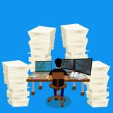 empilhe a pilha de papéis, ambiente empresarial, ilustração do vetor Fotos de Stock