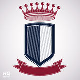 Empire design element. Heraldic royal coronet illustration - imp. Erial striped decorative coat of arms. Luxury vector shield with king red crown and undulate Royalty Free Stock Image