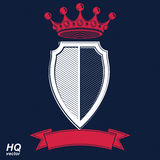 Empire design element. Heraldic royal coronet illustration - imp. Erial striped decorative coat of arms. Luxury vector shield with king red crown and undulate Stock Image