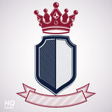 Empire design element. Heraldic royal coronet illustration - imp. Erial striped decorative coat of arms. Luxury vector shield with king red crown and undulate Royalty Free Stock Photography