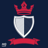 Empire design element. Heraldic royal coronet illustration - imp. Erial striped decorative coat of arms. Luxury vector shield with king red crown and undulate Stock Photos