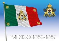 Empire du Mexique, drapeau historique 1863-1867, Mexique illustration stock