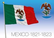 Empire du Mexique, drapeau historique 1821-1823, Mexique illustration de vecteur