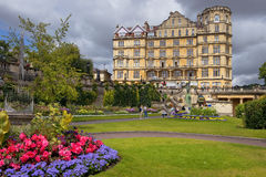Empire Hotel in Bath, Somerset, England. BATH, ENGLAND - JULY 28: the Empire Hotel, by architect Major Charles Edward Davis for the hotelier Alfred Holland  on Royalty Free Stock Images