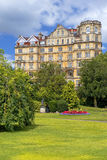 Empire Hotel, Parade Gardens in Bath, Somerset, England. BATH, ENGLAND - JULY 28: the Empire Hotel, by architect Major Charles Edward Davis for the hotelier Royalty Free Stock Photos