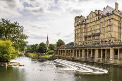 The Empire Hotel on River Avon. BATH - JULY 18: View of the Empire Hotel on River Avon on July 18, 2015 in Bath, England Royalty Free Stock Photos