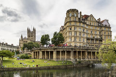 The Empire Hotel on River Avon. BATH - JULY 18: View of the Empire Hotel on River Avon on July 18, 2015 in Bath, England Royalty Free Stock Photography