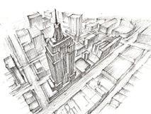 Empire State Building-Bleistift-Zeichnung Lizenzfreies Stockfoto