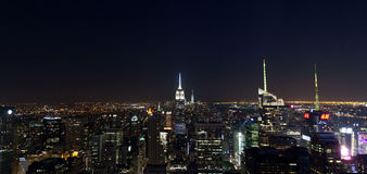 Empire State Building en 's nachts Cityscape van Manhattan Royalty-vrije Stock Fotografie