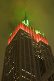 Empire State Building Glowing. Red and green Royalty Free Stock Photos