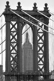 The Empire State  building looking through the Manhattan bridge. Was walking across the Brooklyn Bridge and got this shoot Royalty Free Stock Images