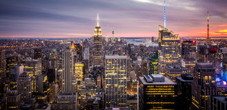 Empire State Building, New York City Manhattan during Sunset. Great view of the Empire State Building and New York city lights during sun set Stock Image