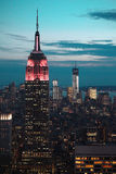 Empire State Building at night. New York City night scene with Empire State Building royalty free stock photo