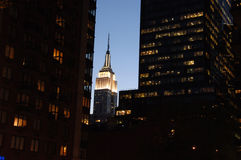 Empire State Building at night Stock Images