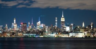 Night Landscape River Reflection New York City Skyline Empire State Building stock images
