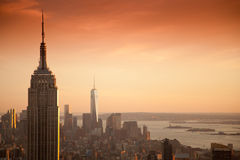 Empire State Building och World Trade Center Royaltyfri Foto