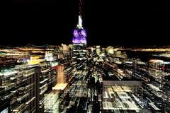 Empire State Building på natten i Manhattan New York Royaltyfri Bild