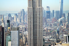 Empire State Building with panorama of Manhattan royalty free stock photography