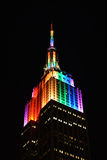Empire State Building with Rainbow Lights Stock Image
