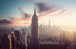 Free Empire State Building With New York Skyline Royalty Free Stock Photo - 168613595