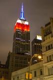 Empire State Building zamyka up przy nocą, NYC fotografia royalty free