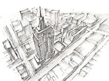 Empire State Buildingblyertspennateckning Royaltyfri Foto