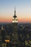 Empire State en la puesta del sol Fotografía de archivo libre de regalías