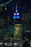 Empire State Nueva York por noche Foto de archivo