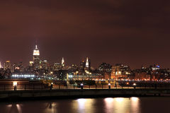 Empire State, NYC midtown manhattan skyline at Night Royalty Free Stock Photos