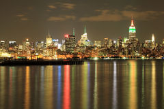 Empire State, NYC skyline at Night on Indian independence day. Royalty Free Stock Photography