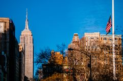 Empire State Tower on a clear sky day Stock Photos