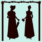 Empire style historic fashion women silhouettes. Empire style historic fashion elegant women silhouettes vector illustration