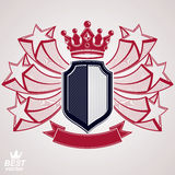 Empire stylized vector graphic symbol. Shield with 3d flying sta Royalty Free Stock Photo