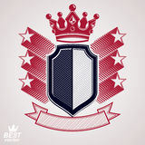 Empire stylized vector graphic symbol. Shield with 3d flying sta Stock Image